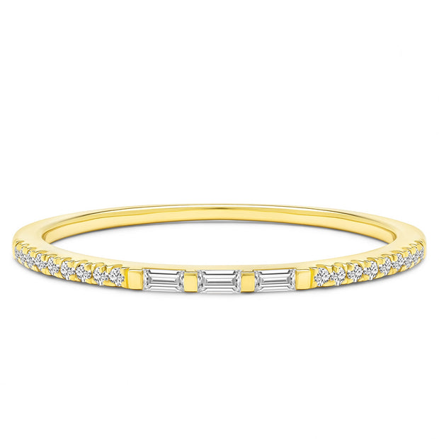 14K Solid Gold Three Stone Baguette Slim Pave Half Eternity Band