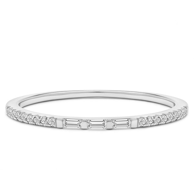 14K Solid White Gold Three Stone Baguette Slim Pave Half Eternity Band
