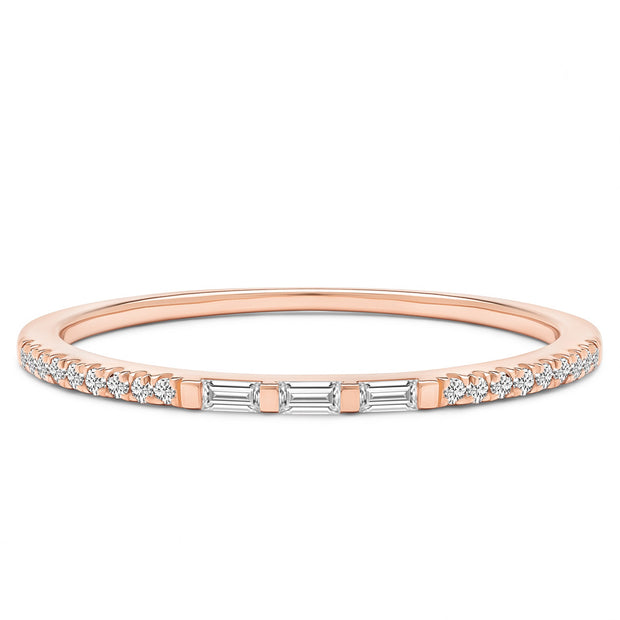14K Solid Rose Gold Three Stone Baguette Slim Pave Half Eternity Band