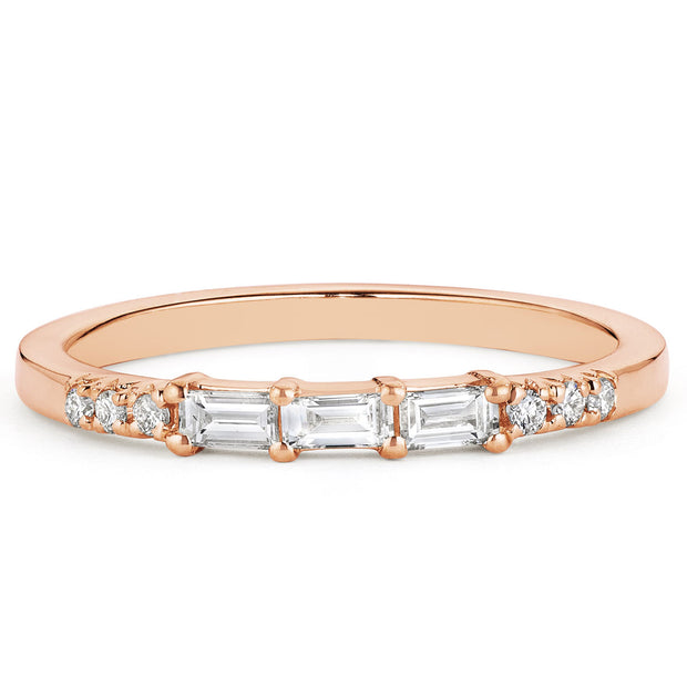 14K Solid Gold Baguette Diamond Pave Half Eternity Band, Rose Gold