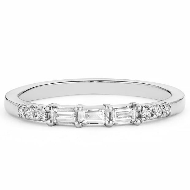 14K Solid Gold Baguette Diamond Pave Half Eternity Band, White Gold
