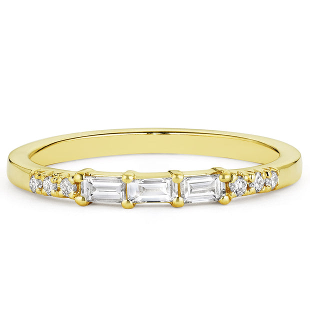 14K Solid Gold Baguette Diamond Pave Half Eternity Band