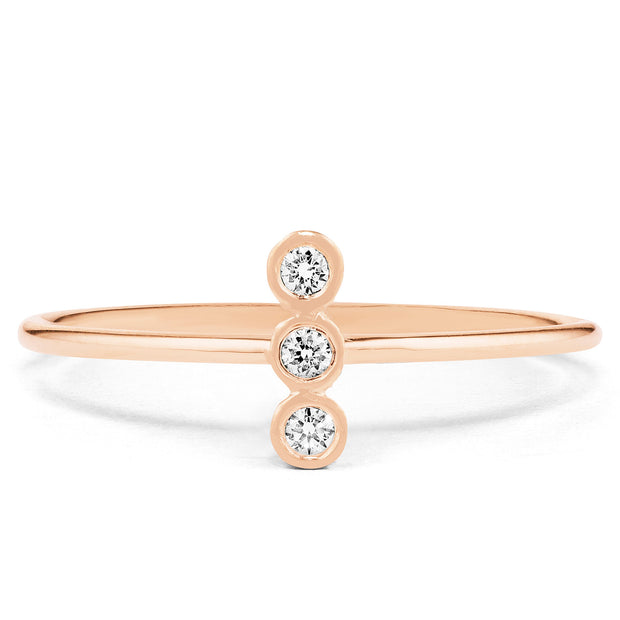 14K Solid Gold Three Stone Vertical Bezel Diamond Statement Ring Rose Gold