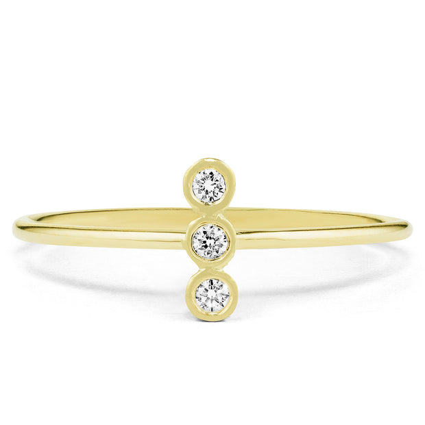 14K Solid Gold Three Stone Vertical Bezel Diamond Statement Ring