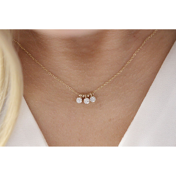 14K Solid Gold Three Dangling Bezels Necklace Model