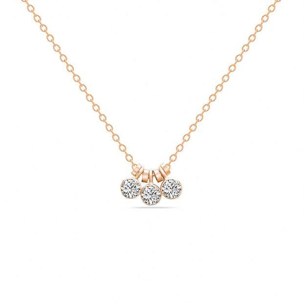 14K Solid Rose Gold Three Dangling Bezels Necklace