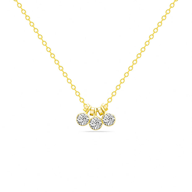 14K Solid Gold Three Dangling Bezels Necklace