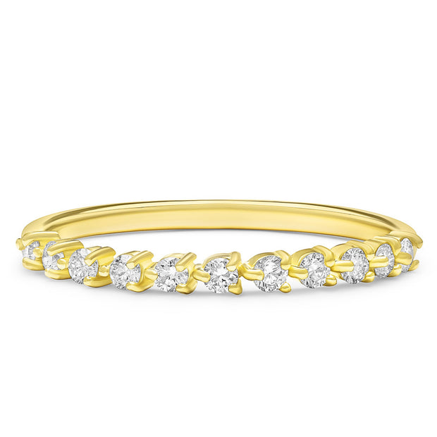 14K Solid Gold Unique Three Prong Half Eternity Stacking Band