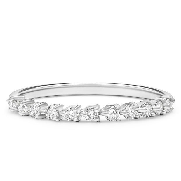 14K Solid White Gold Unique Three Prong Half Eternity Stacking Band