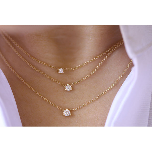14K Solid Gold Diamond Solitaire Three Prong Necklace Model 2