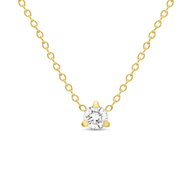 14K Solid Gold Diamond Solitaire Three Prong Necklace