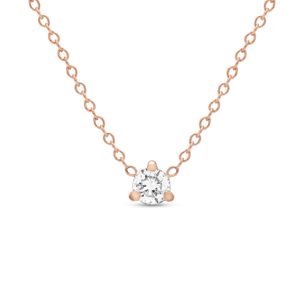 14K Solid Gold Diamond Solitaire Three Prong Necklace Rose Gold