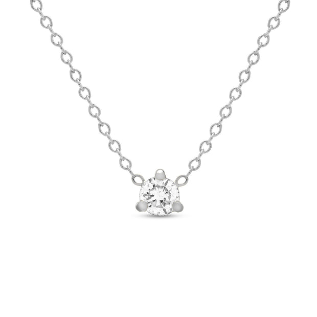 14K Solid Gold Diamond Solitaire Three Prong Necklace White Gold