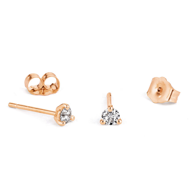 14K Solid Gold Diamond Three Prong Studs Rose Gold