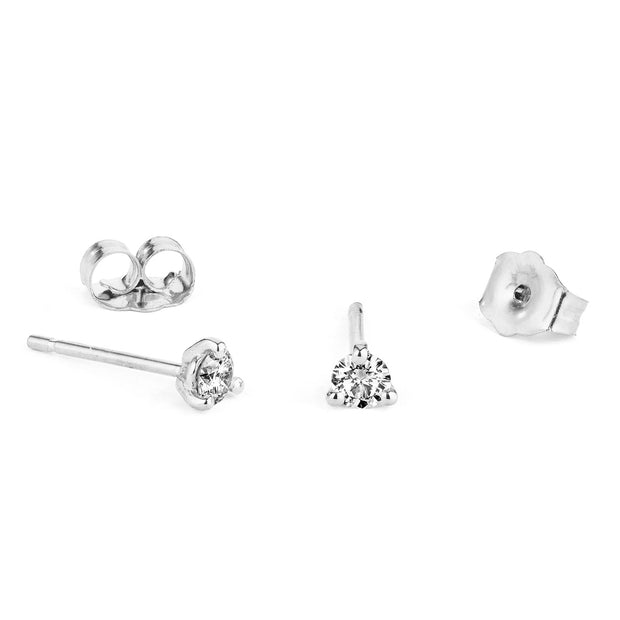 14K Solid Gold Diamond Three Prong Studs White Gold