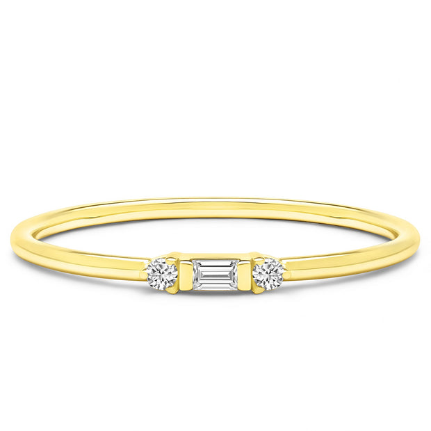 14K Solid Gold Three Stone Baguette Round Stackable Ring