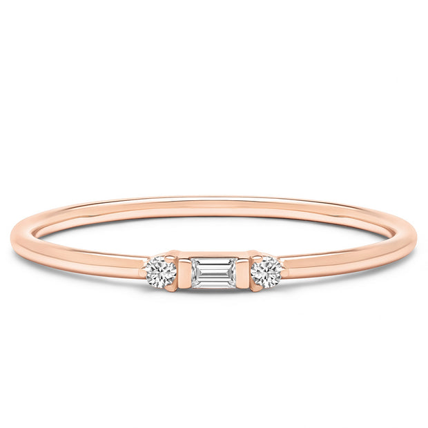 14K Solid Rose Gold Three Stone Baguette Round Stackable Ring