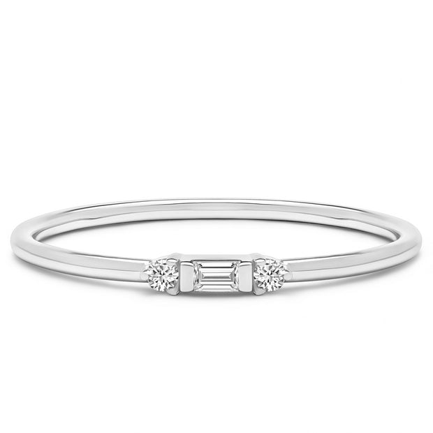14K Solid White Gold Three Stone Baguette Round Stackable Ring
