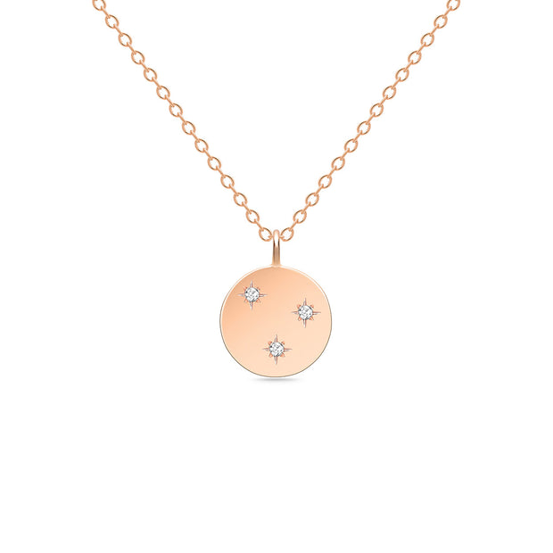 14K Solid Rose Gold 3 Stars Diamond Disc Necklace