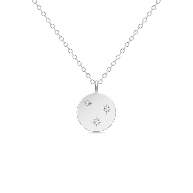 14K Solid White Gold 3 Stars Diamond Disc Necklace