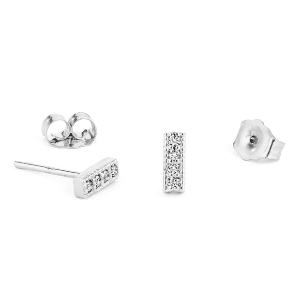 14K Solid Gold Four Diamond Milgrain Bar Studs White Gold