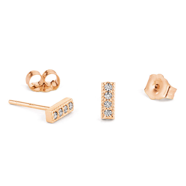 14K Solid Gold Four Diamond Milgrain Bar Studs Rose Gold