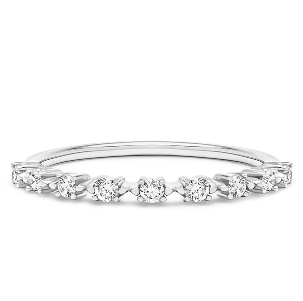 14K Solid White Gold Unique Prong Set Nine Stone Half Eternity Band