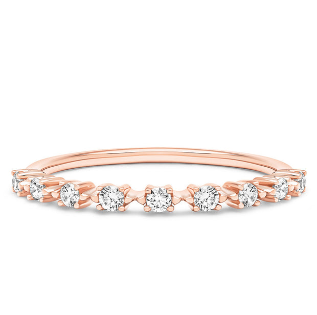 14K Solid Rose Gold Unique Prong Set Nine Stone Half Eternity Band