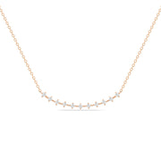 14K Solid Rose Gold Round Diamond Prong Set Curved Bar Necklace