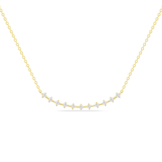 14K Solid Gold Round Diamond Prong Set Curved Bar Necklace