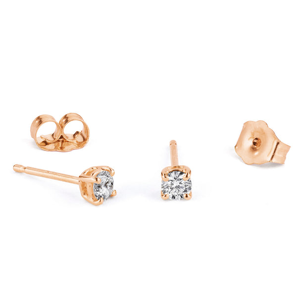 14K Solid Gold Four Prong Diamond Studs Rose Gold