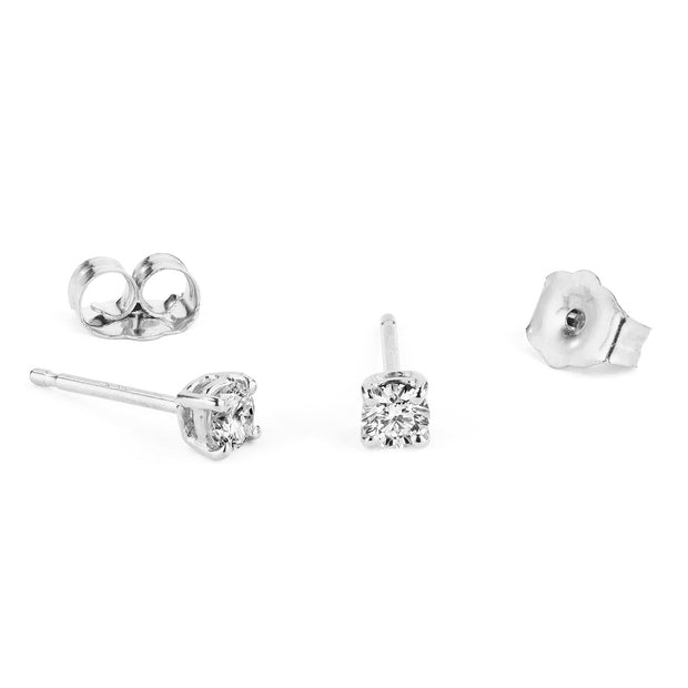 14K Solid Gold Four Prong Diamond Studs White Gold