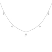 14K Solid White Gold Alternating Five Diamond Anniversary Necklace