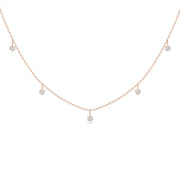 14K Solid Rose Gold Alternating Five Diamond Anniversary Necklace