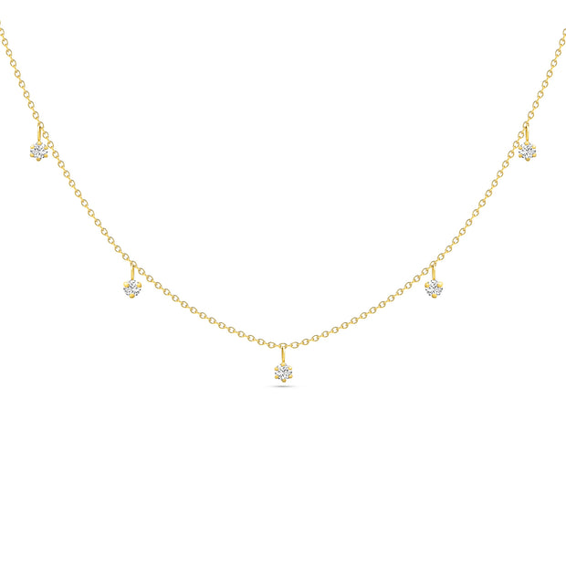 14K Solid Gold Alternating Five Diamond Anniversary Necklace