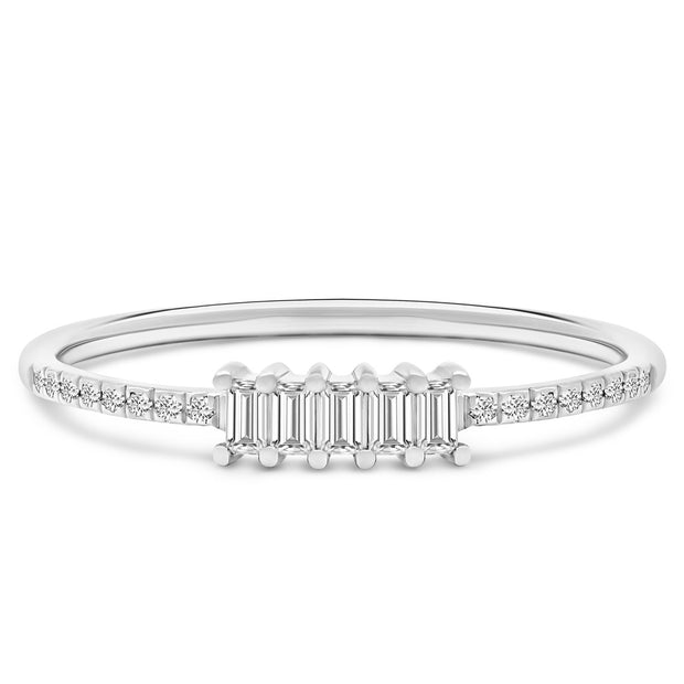 14K Solid White Gold Five Stone Baguette Diamond Pave Anniversary Band
