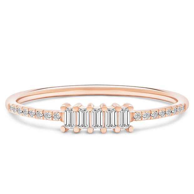 14K Solid Rose Gold Five Stone Baguette Diamond Pave Anniversary Band