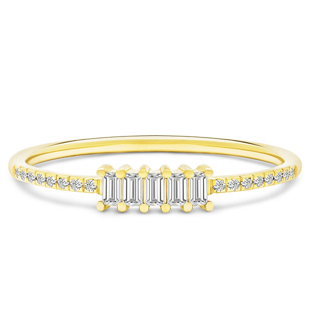 14K Solid Gold Five Stone Baguette Diamond Pave Anniversary Band