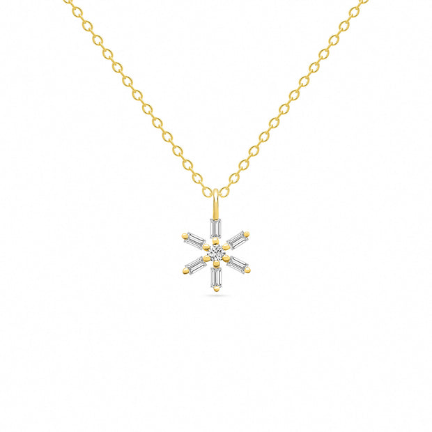 14K Solid Gold Baguette Diamond Star Necklace