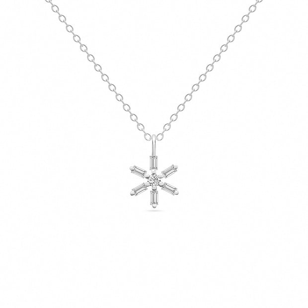 14K Solid White Gold Baguette Diamond Star Necklace