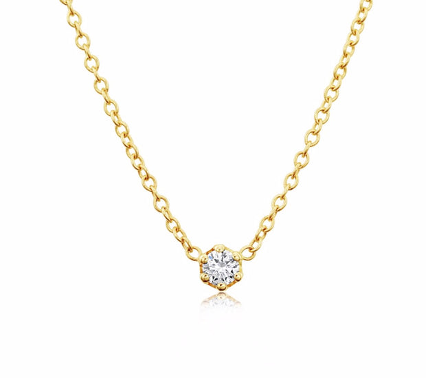 14K Solid Gold Diamond Solitaire Six Prong Necklace