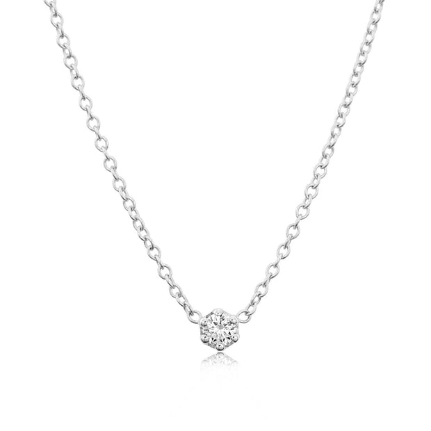14K Solid White Gold Diamond Solitaire Six Prong Necklace