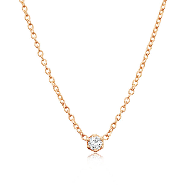 14K Solid Rose Gold Diamond Solitaire Six Prong Necklace