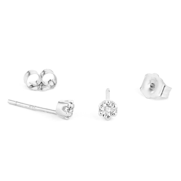 14K Solid Gold Six Prong Diamond Studs White Gold