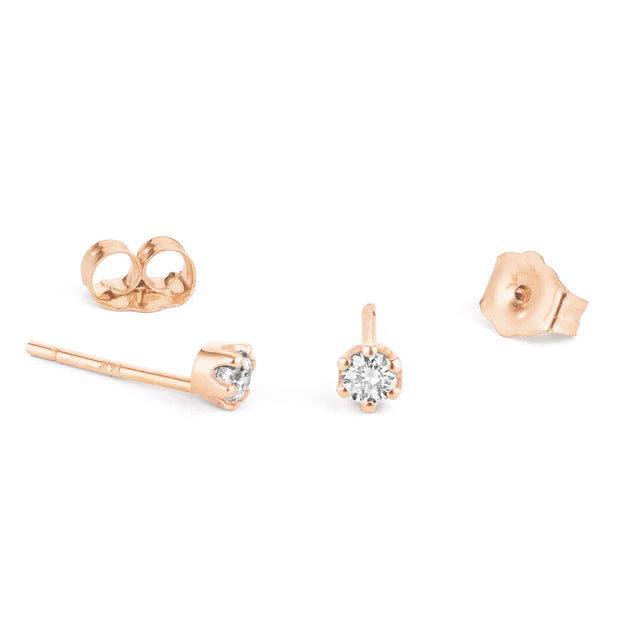 14K Solid Gold Six Prong Diamond Studs Rose Gold