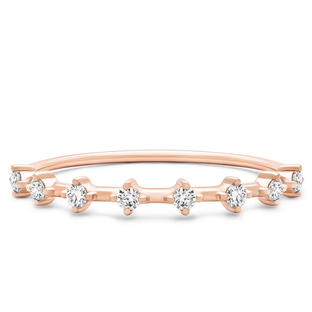 14K Solid Rose Gold Unique Two Prong Half Eternity Band
