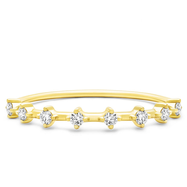 14K Solid Gold Unique Two Prong Half Eternity Band