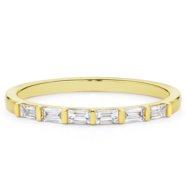 14K Solid Gold Baguette Diamond Half Eternity Band