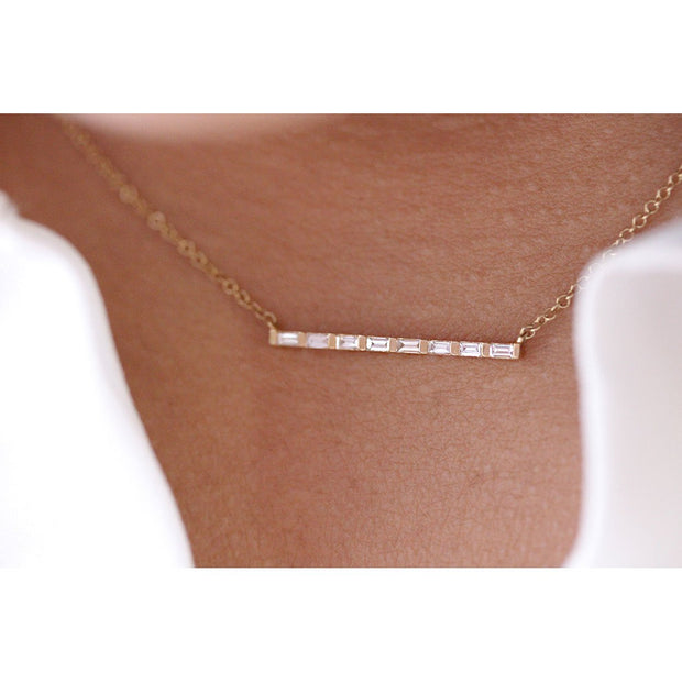14K Solid Gold All Baguette Diamond Tension Bar Necklace Model 2