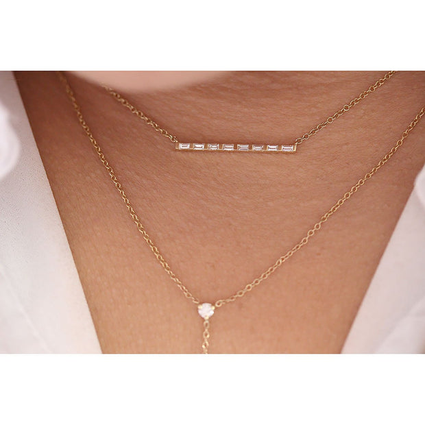 14K Solid Gold All Baguette Diamond Tension Bar Necklace Model 1
